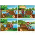 four scenes with lumberjack and woods vector image vector image