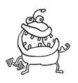 funny alien monster keeps a dumbbell vector image