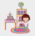 girl with books cartoons vector image