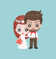 groom and bride arm in arm cute character for use vector image