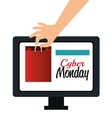 hand shop gift computer cyber monday vector image vector image