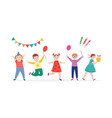 happy children at birthday party flat cartoon vector image vector image