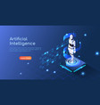 isometric web banner ai robot floating on vector image