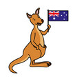 kangaroo with hat australian flag celebration vector image vector image