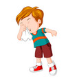 little boy sneezing hard vector image