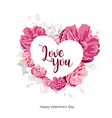 love you message on white heart with pink flower vector image vector image