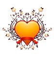 lovely golden heart with many roses vector image