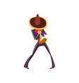 man in mexican national costume playing trumpet vector image vector image
