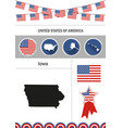 map of iowa set of flat design icons nfographics vector image vector image