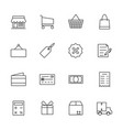 market and shopping icon set line icon vector image vector image