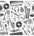music seamless pattern musical band instruments vector image