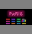 neon name of paris city vector image