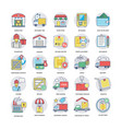 pack of logistics delivery flat icons vector image