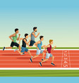 people on running track vector image