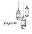 ramadan kareem card design with hanging lamps vector image vector image