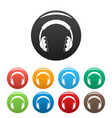 rock headphones icons set color vector image vector image