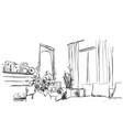 room interior sketch window sofa and furniture vector image vector image