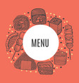round composition with japanese food in hand-drawn vector image vector image