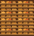 seamless pattern bakery shelf with bread in vector image vector image