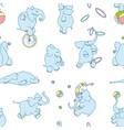 seamless pattern cute cartoon elephants vector image vector image