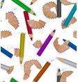 seamless pattern with pencil shavings realistic vector image vector image
