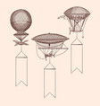 set steampunk hand drawn air balloons vector image vector image