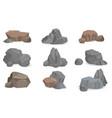 set stones and rocks for game design set gems vector image