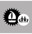 silhouette family vacation sail a boat vector image