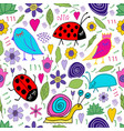 snail bird bug ladybug flowers leaves doodle vector image