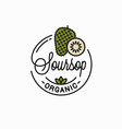soursop fruit logo round linear slice on white vector image vector image