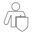 stick man with shield protecting personal data vector image vector image
