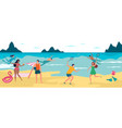summer beach vacation happy boys and girls vector image