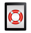 Tablet Computer With Life Buoy vector image vector image