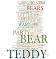 teddy bear birthday party theme text background vector image vector image