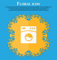 Washing machine icon Floral flat design on a blue vector image