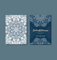 wedding invitation cards in an vintage-style blue vector image vector image