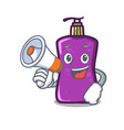 with megaphone shampo character cartoon style vector image vector image
