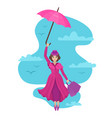 woman flies in sky with an umbrella and a bag vector image vector image