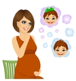 woman wondering about her future baby vector image vector image