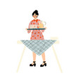 young woman setting table family having bbq vector image vector image