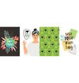 zero waste girl eco posters vector image vector image