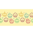 Colorful muffins horizontal seamless pattern vector image