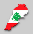 3d isometric map lebanon with national flag vector image