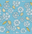 a fun floral repeat print pattern in blue and vector image vector image