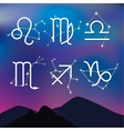 Astrological signs Night mountain landscape with vector image vector image