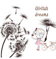 background with dandelion bicycle and little girl vector image