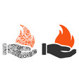 burn hand mosaic of repair tools vector image vector image