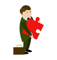 businessman holding a gear piece vector image