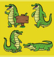 cartoon crocodile character in set vector image