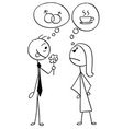 cartoon of man and woman on date different ideas vector image